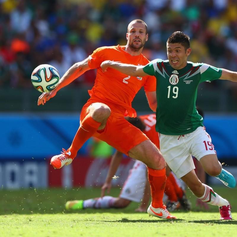 Oribe Peralta Match Worn Shirt, Holland-Mexico, World Cup 2014