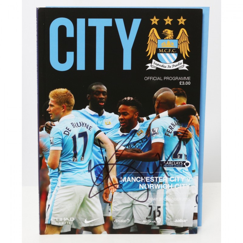 Raheem Sterling Manchester City v Norwich City Signed Brochure