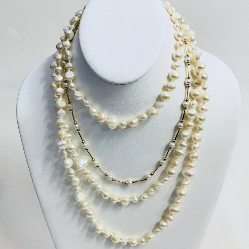 "60"" Pearl Strand and 14KT Yellow Gold Pearl Necklace"