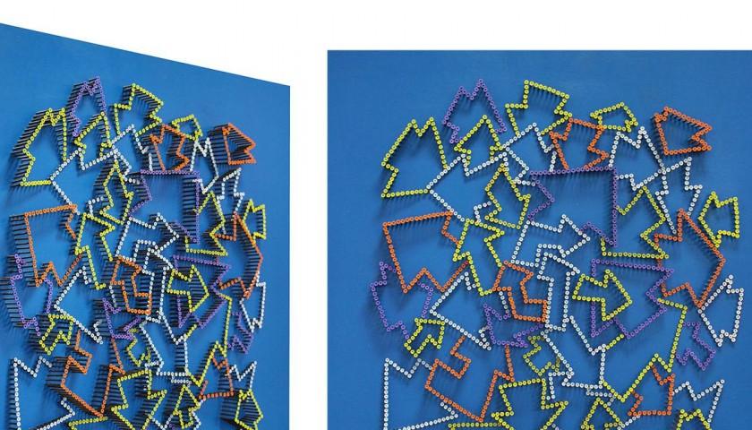 """Arrows"" - acrylic on 2000 self-tapping screws - Drill Monkeys Art Duo - 81x81x10 cm"