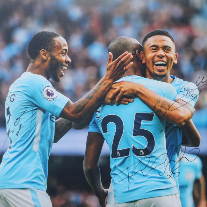 Raheem Sterling, Fernandinho & Gabriel Jesus Manchester City A2 Signed Photograph