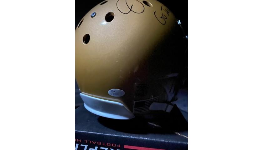 "Joe Montana Signed Notre Dame Helmet with ""Go Irish"" Inscription"