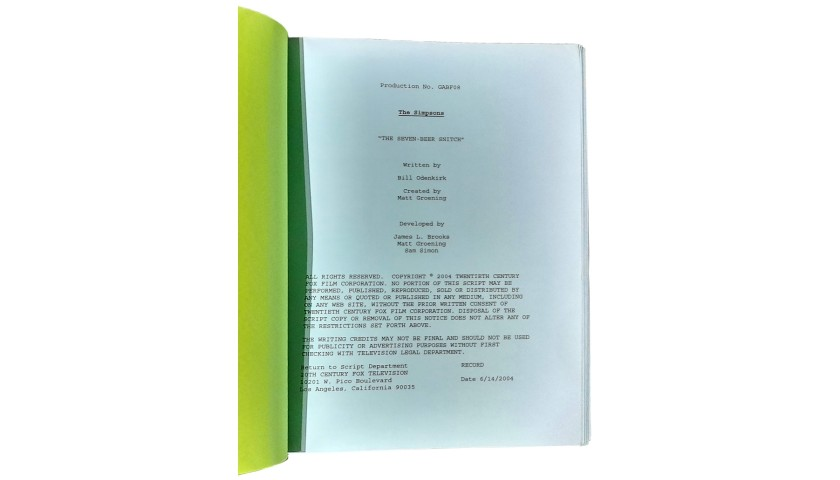 """The Simpsons - """"The Seven-Beer Snitch"""" Original Script"""