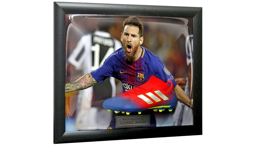 Lionel Messi Hand Signed Adidas Football Boot Presentation