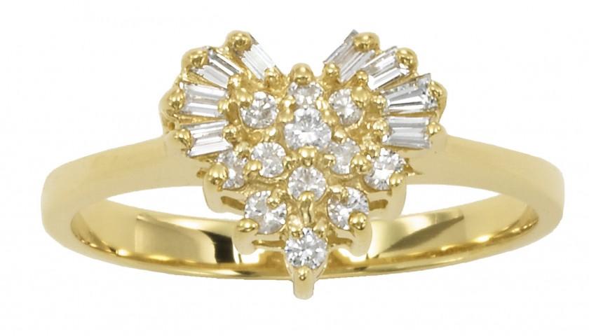 14KT Yellow Gold Heart Diamond Ring
