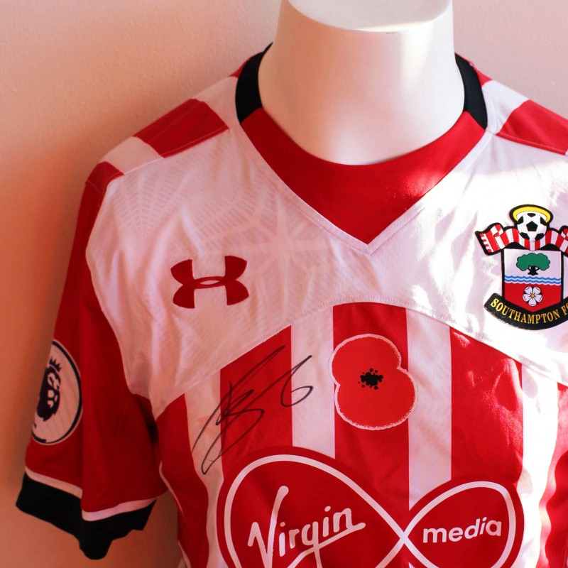 451ec6411 Jose Fonte s Match Worn and Signed Southampton FC Poppy Shirt from ...
