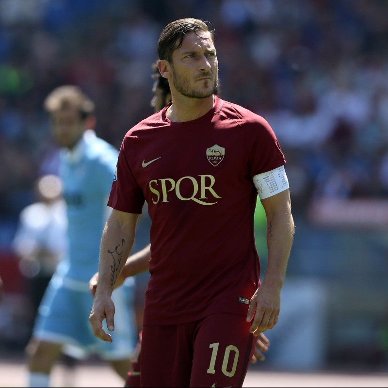Totti's Roma Match-Issued and Signed Shirt, Derby 2017 - SPQR