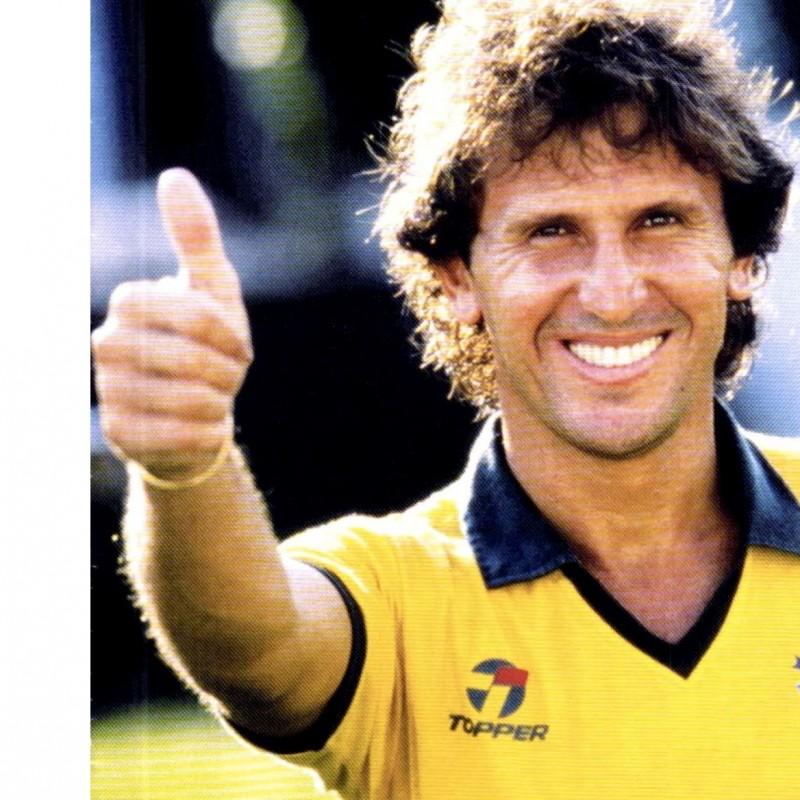 Maglia Zico Brasile preparataindossata, Mondiali 1986 firmata