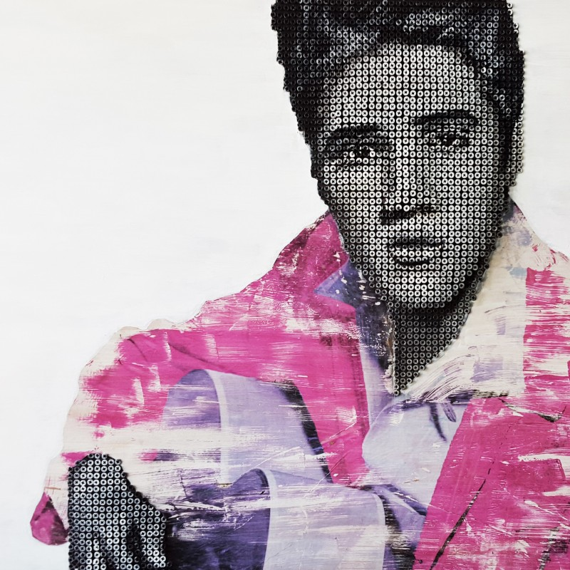"""Elvis Presley"" - acrylic on self-tapping screws by Drill Monkeys Art Duo - 122x81x10 cm"