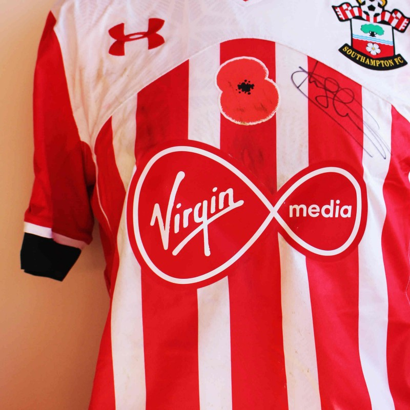 Charlie Austin's Match Worn and Signed Southampton FC Poppy Shirt from 16/17