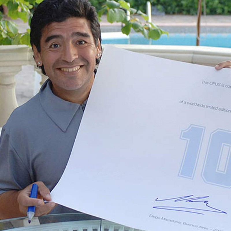 Stampa d'arte autografata da Diego Maradona