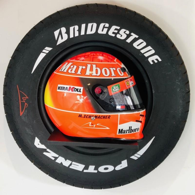Michael Schumacher Signed Ferrari Helmet & Tyre Display