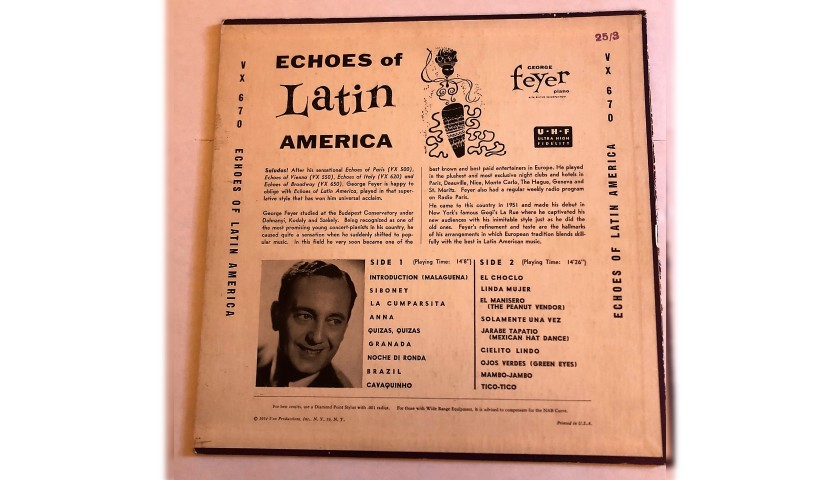 """Echoes of Latin America"" LP by George Feyer, 1954"