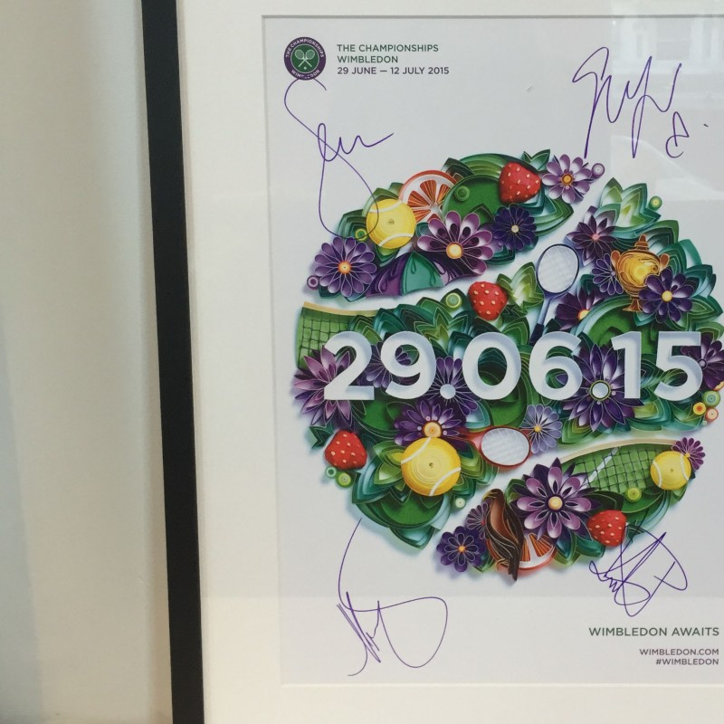 Wimbledon 2015 Official Poster Signed by Petra Kvitova, Garbing Muguruza, Maria Sharapova and Serena Williams