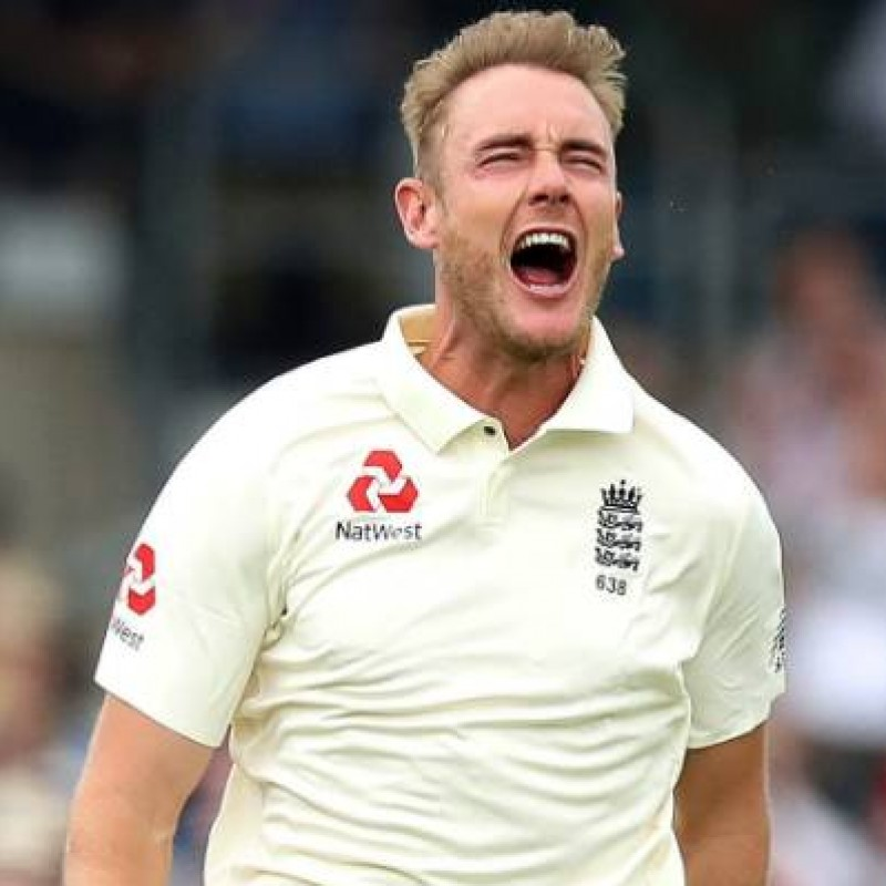 ECB 2018 Cricket Test Poppy Shirt Signed by Broad
