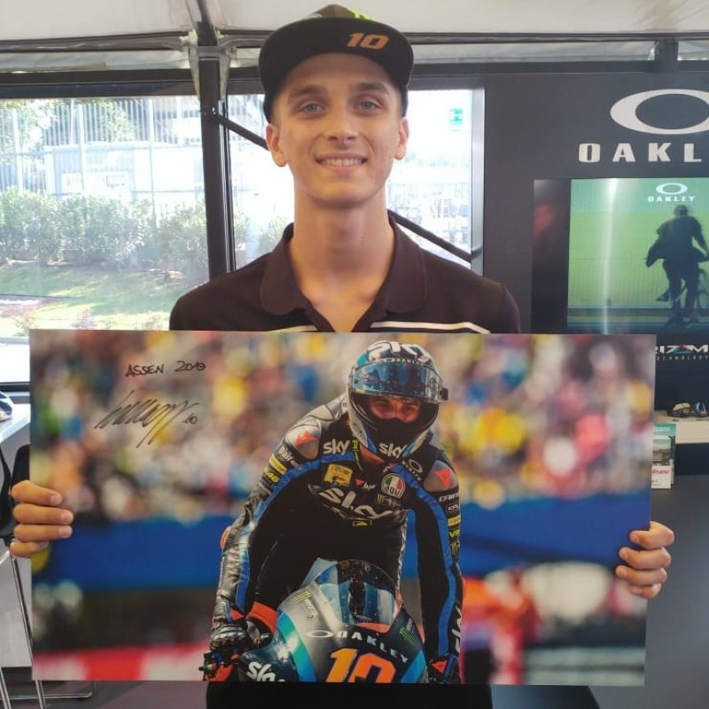 Photograph and Visor Worn by Luca Marini - Signed