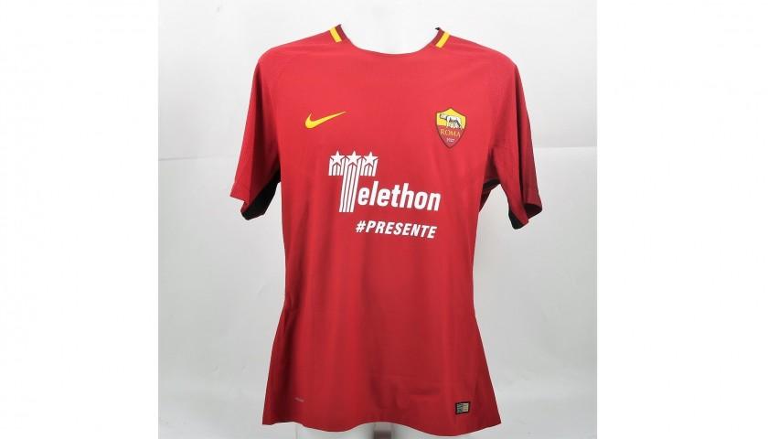 Jesus's Bench-Worn Roma-Cagliari Shirt, Special Sponsor Telethon