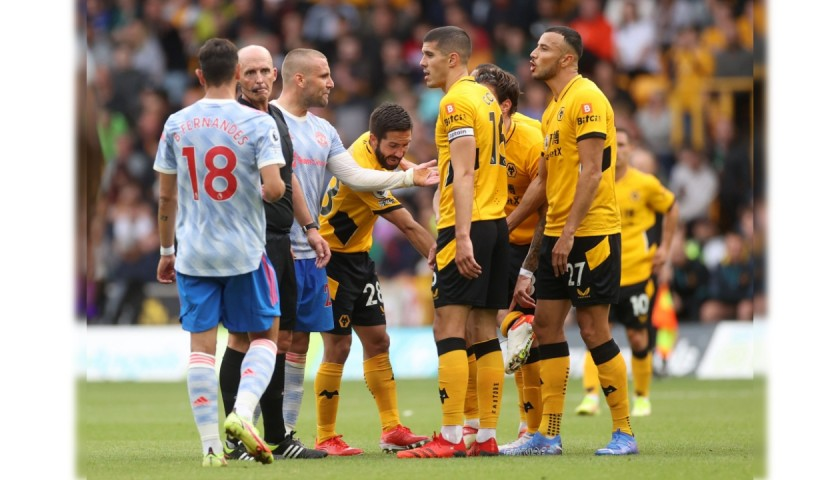 Bruno Fernandes' Worn and Unwashed Shirt, Wolves-Man United 2021