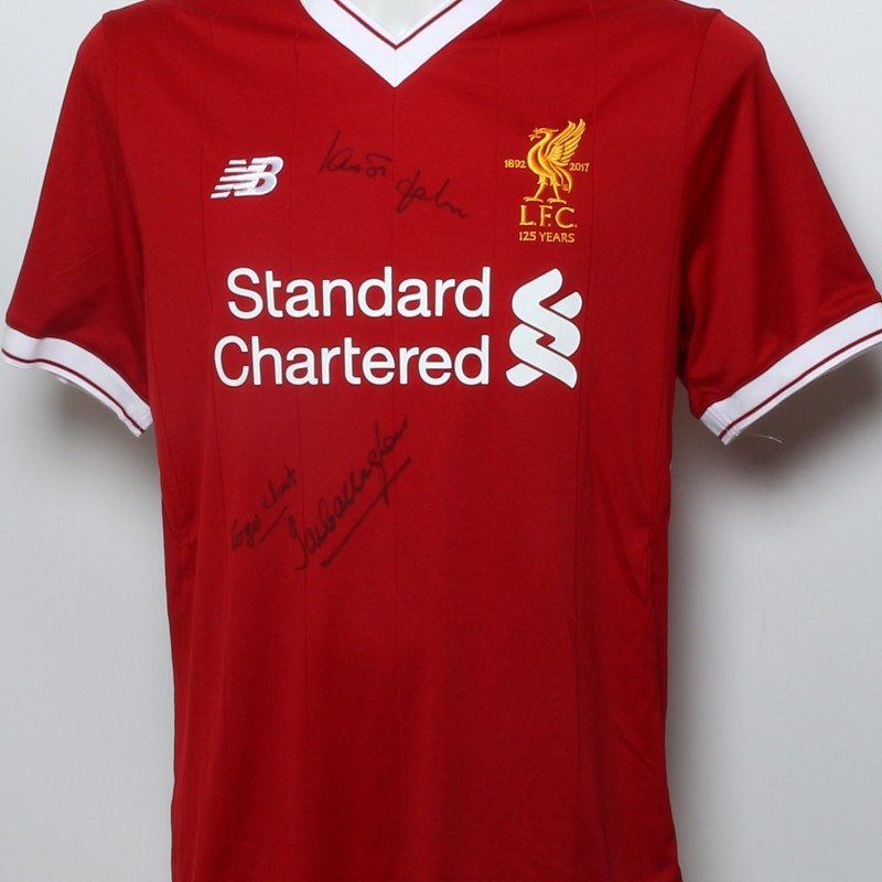 """LFC 125 Shirt """"LFC ERA 2001"""" Signed by Gerrard, Fowler, Hyypia, Berger and and Smicer"""