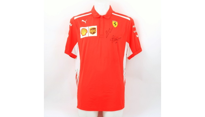 Official Ferrari T-Shirt - Signed by Vettel and Raikkonen