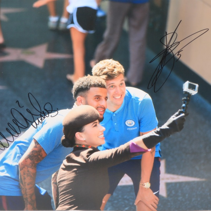 """""""US Tour"""" Walker and Stones Manchester City Signed Photograph"""