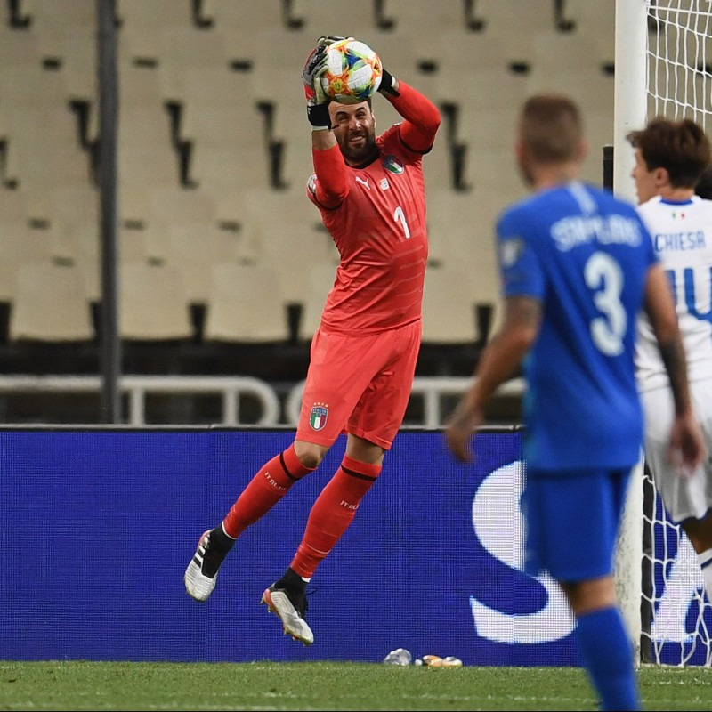 Sirigu's Signed Match Shirt, Greece-Italy 2019