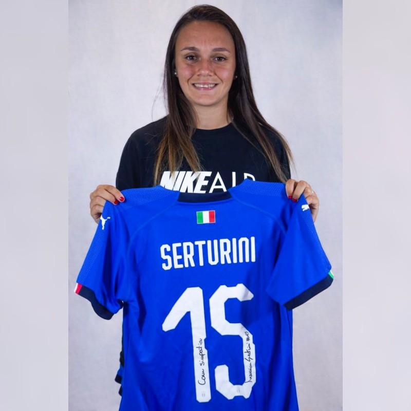 Serturini's Worn and Signed Shirt, Italy-Switzerland 2019