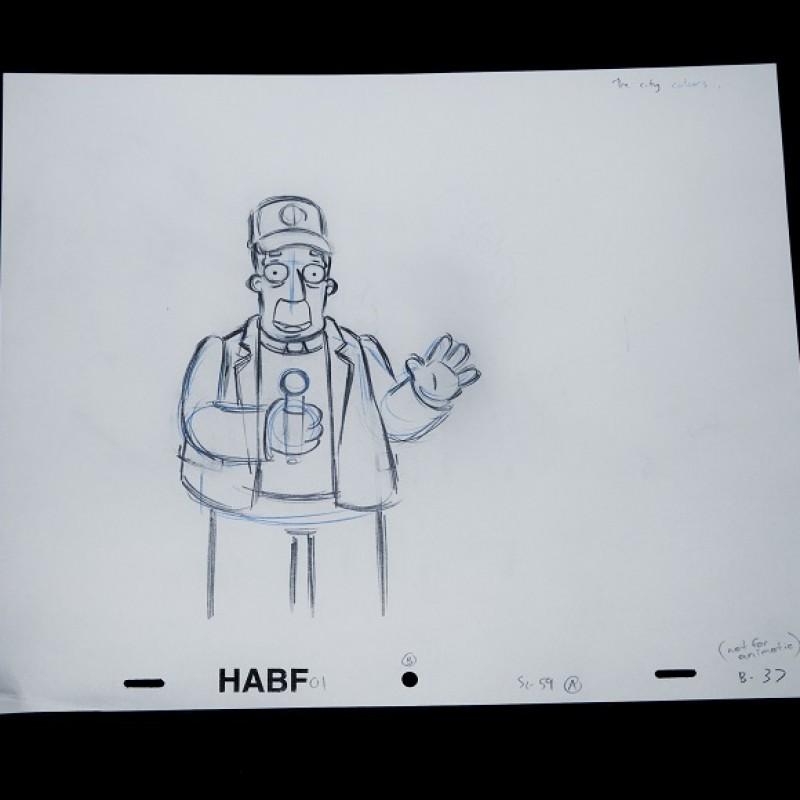 The Simpsons - Original Drawing of Kent Brockman
