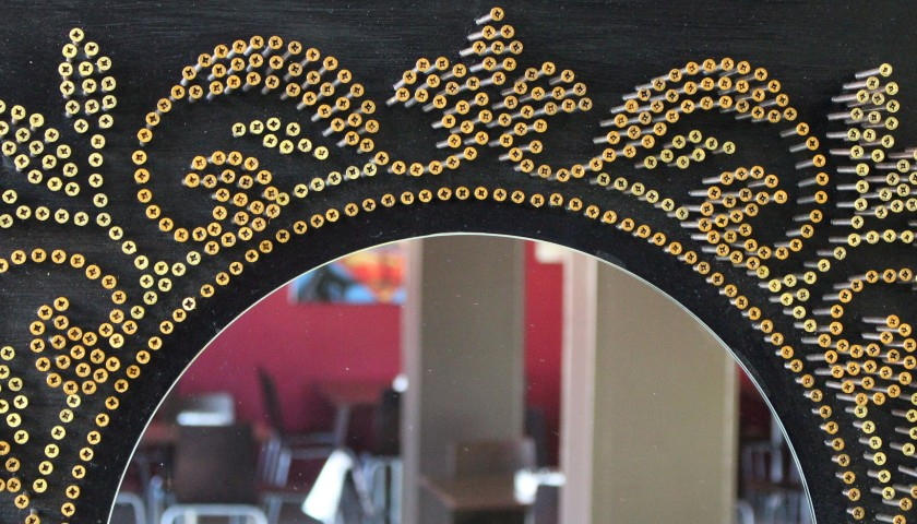 Mirror- acrylic on 1800 self-tapping screws - Drill Monkeys Art Duo - 81x81x10 cm