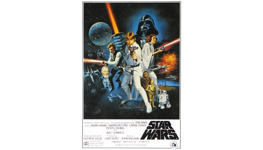 """Anthony Daniels Signed Star Wars A New Hope Poster with """"C-3PO"""" Inscription"""