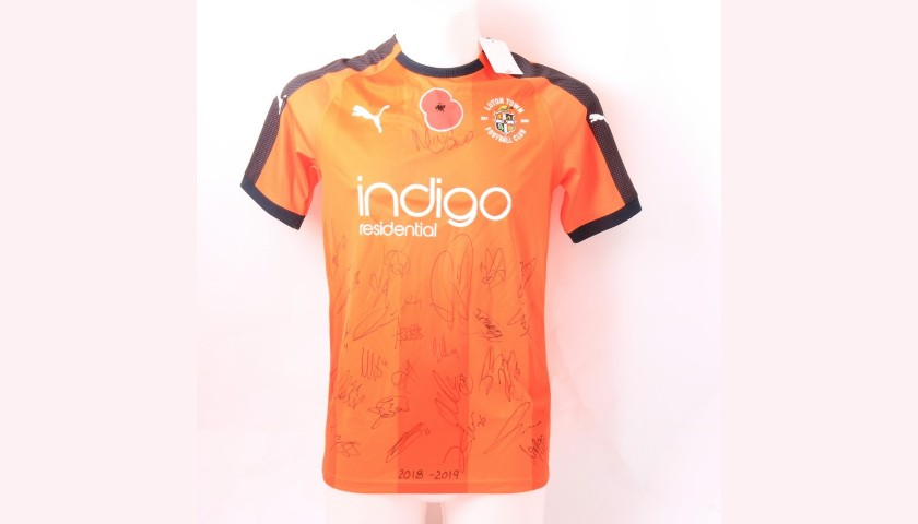 Luton Town Official Poppy Shirt Signed by the Team