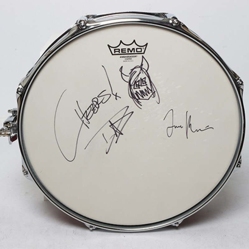 DAVE GROHL AND TAYLOR HAWKINS – Foo Fighters Signed Snare Drum