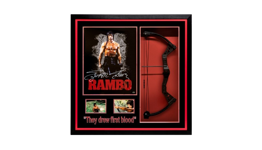 Sylvester Stallone Signed Rambo Mini Poster with Bow Framed Display