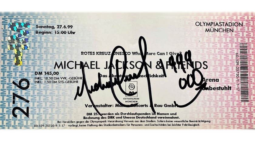 Michael Jackson Signed Concert Ticket, 1999