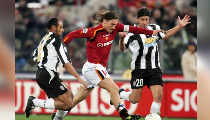 Totti's Worn Roma-Juventus 2005 Shirt - CharityStars