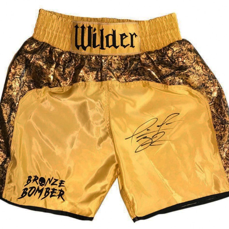 Signed Deontay Wilder Boxing Shorts - Heavyweight Champion Bronze Bomber