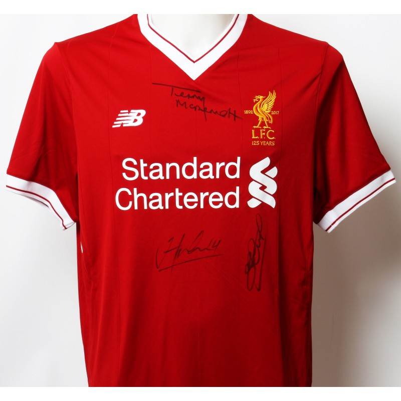 "Official LFC 125 ""Midfielder Generals"" Shirt Signed by Gerrard, Henderson and McDermott"