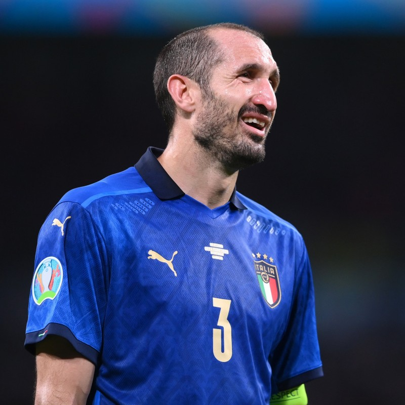 Chiellini's Match-Issued Shirt, Italy-Spain 2021