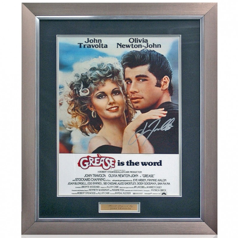 John Travolta Hand Signed 'Grease' Movie Poster