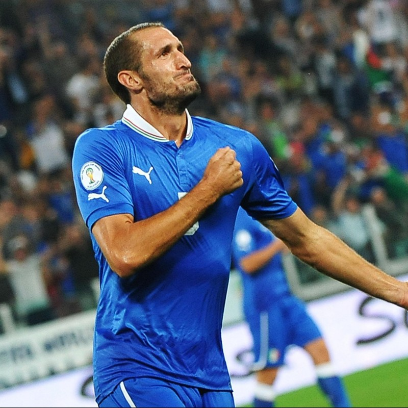 Chiellini's Italy Match Shirt, World Cup Qualifiers 2014