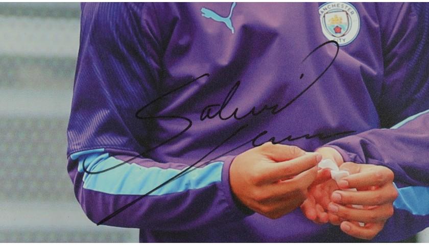 """Manchester City's Gabriel Jesus & Bernardo Silva in Training"" Signed Picture"