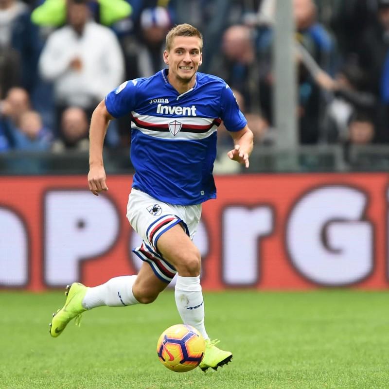 Praet's Sampdoria Match-Issue and Signed Shirt, 2018/19