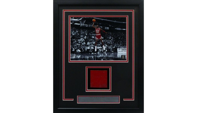 Michael Jordan Custom Framed Game-Used Court Section and Photograph