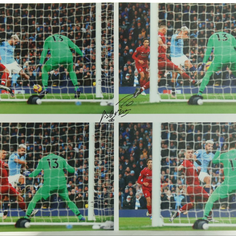 """""""Manchester City Legend Sergio Aguero's goal against Liverpool"""" Signed Picture"""