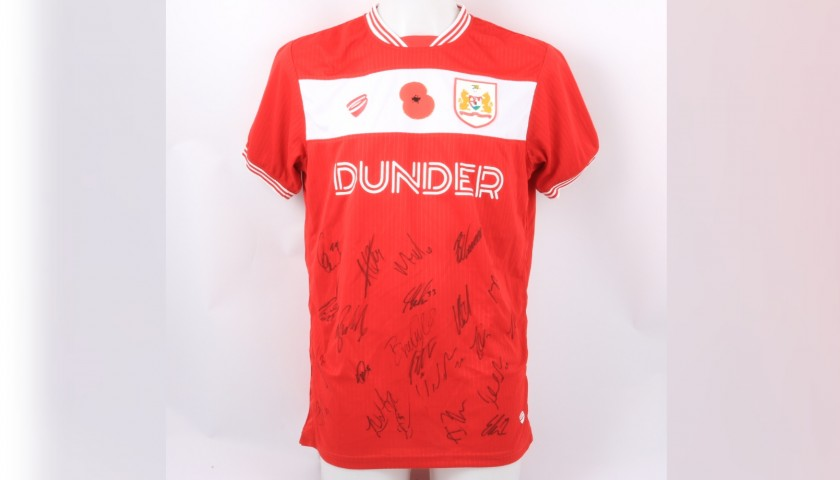 Bristol City Official Poppy Shirt Signed by the Team