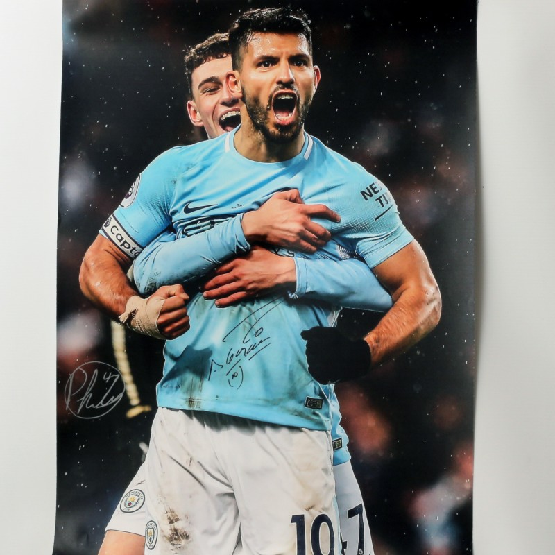 Signed Photograph of Sergio Aguero and Phil Foden, Manchester City vs Swansea
