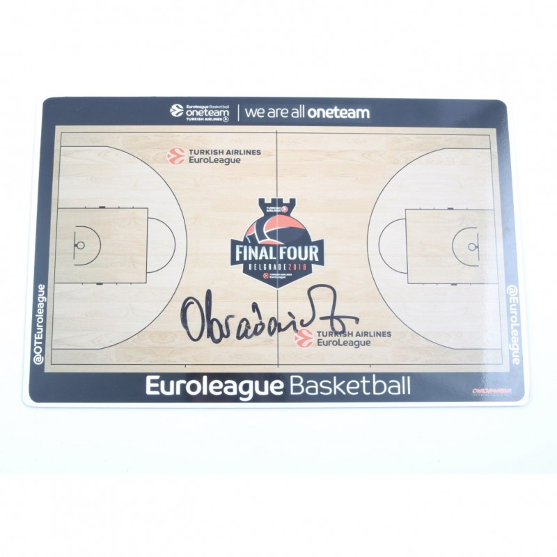 2018 Turkish Airlines EuroLeague Final Four Coach Board signed by Zeljko Obradovic