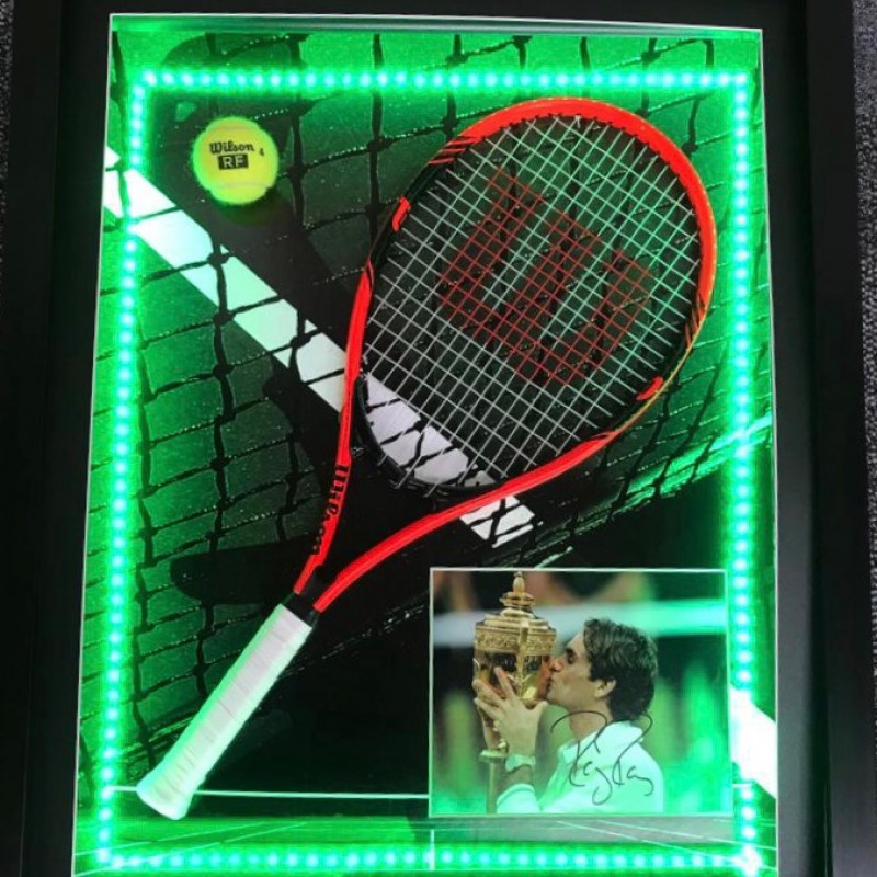 Signed Photo & Racket Display of Tennis Legend, Roger Federer