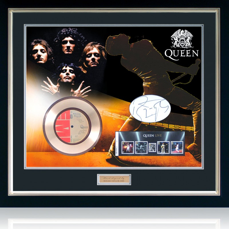 Queen - Bohemian Rhapsody Gold Disc Hand Signed by Roger Taylor
