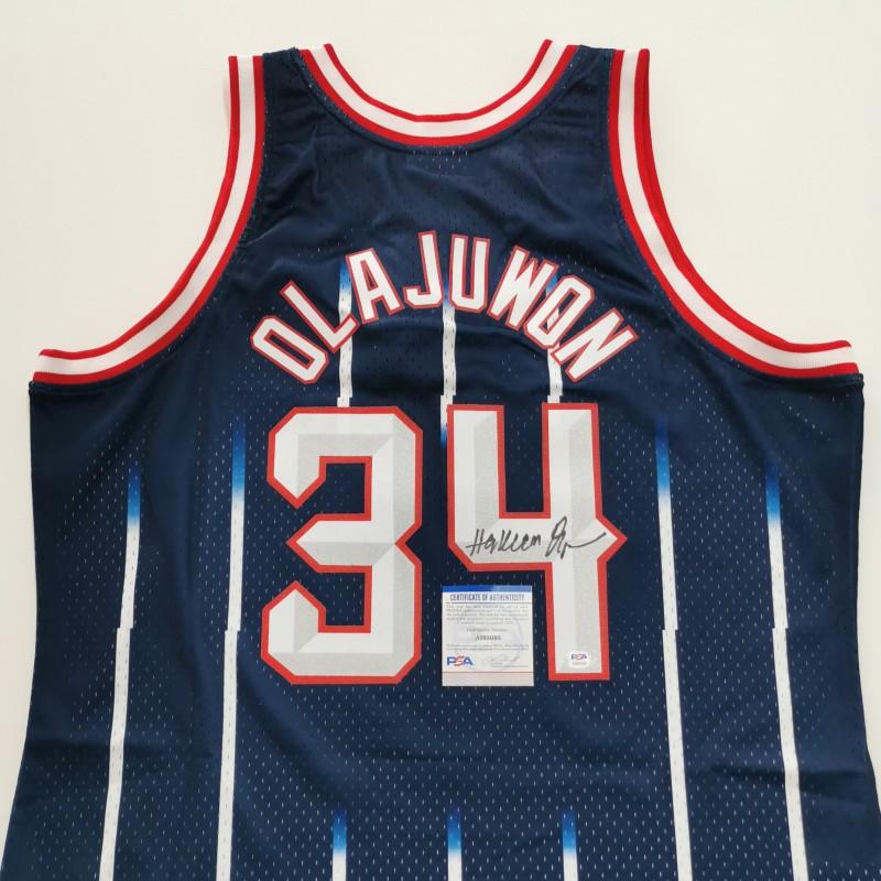 Houston Rockets Signed NBA Shirt by Hakeem Olajuwon
